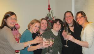 Celebrating a decade of book club, December 2012. Karen, Pam, Jenn, Melissa, Caity & Jenny.
